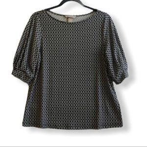 H&M Floral Geometric Print Peasant Top Blouse